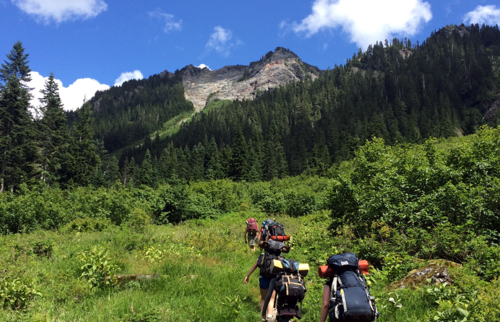 girls hiking Olympic Mountains